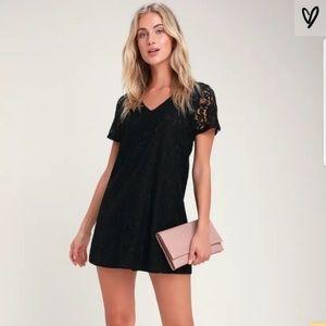 LULUS Bancroft Black Lace Short Sleeve Shift Dress